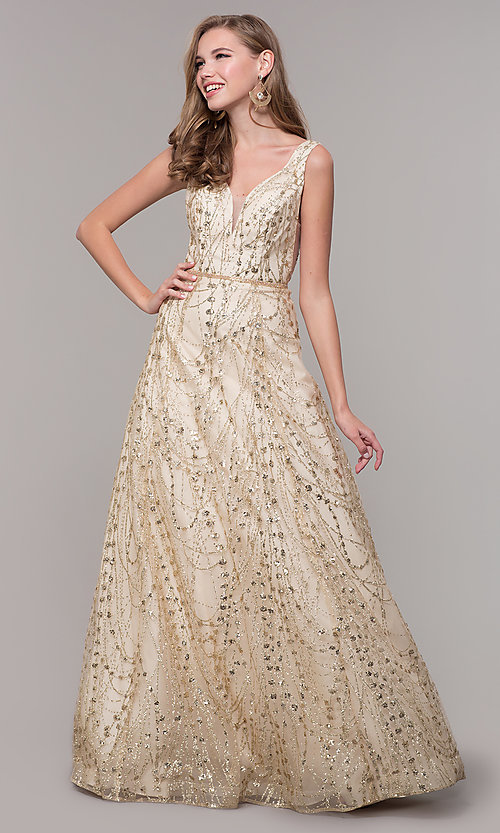 Image of long v-neck glitter champagne prom dress. Style: FB-GL2691 Detail Image 3