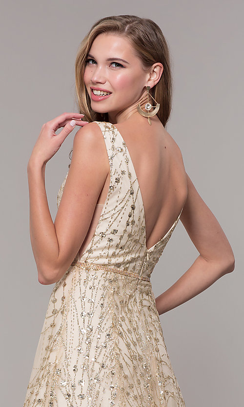 Image of long v-neck glitter champagne prom dress. Style: FB-GL2691 Detail Image 2