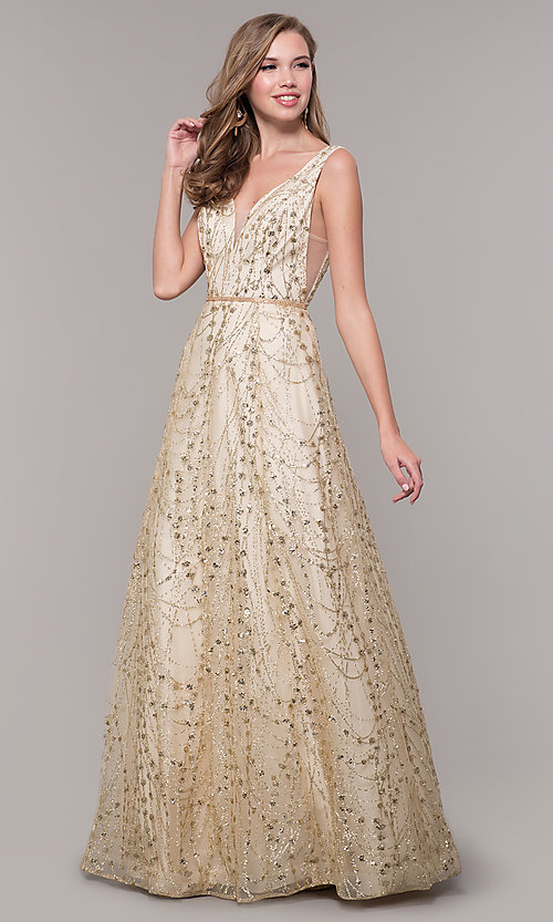 b5d1ddfc4617 Image of long v-neck glitter champagne prom dress. Style: FB-GL2691