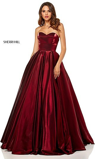 Long Sherri Hill Metallic Designer Prom Dress