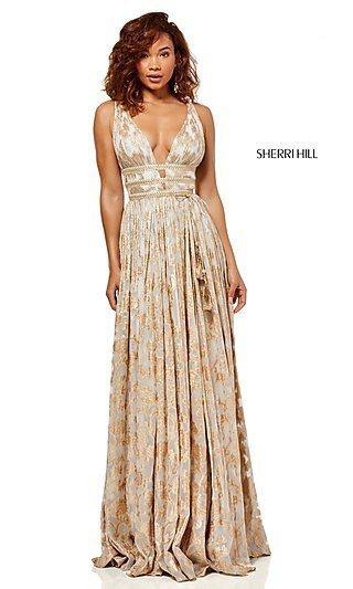 Sherri Hill Sleeveless Print Designer Prom Dress
