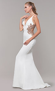 Image of long v-neck Faviana prom dress with embroidery. Style: FA-S10226 Detail Image 3