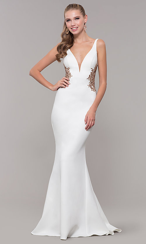Image of long v-neck Faviana prom dress with embroidery. Style: FA-S10226 Front Image