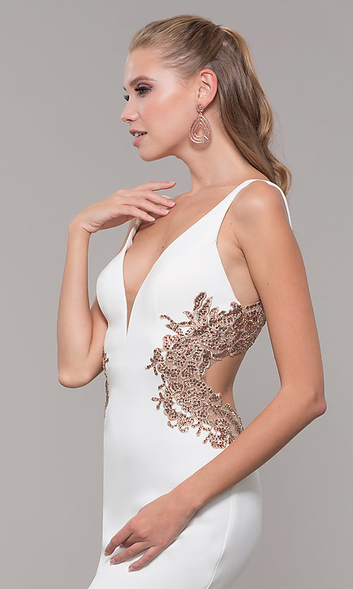Image of long v-neck Faviana prom dress with embroidery. Style: FA-S10226 Detail Image 1