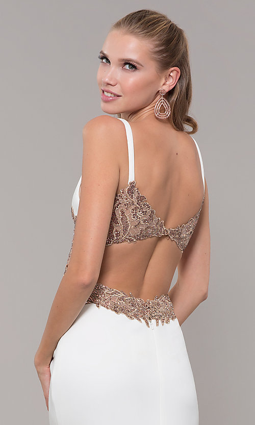Image of long v-neck Faviana prom dress with embroidery. Style: FA-S10226 Detail Image 2
