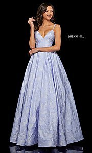 Image of long embossed a-line prom dress with pockets. Style: SH-52953 Front Image