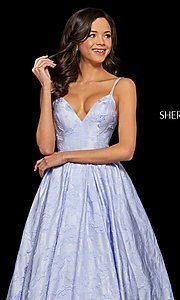 Image of long embossed a-line prom dress with pockets. Style: SH-52953 Detail Image 1