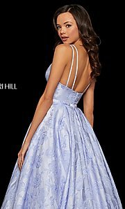 Image of long embossed a-line prom dress with pockets. Style: SH-52953 Detail Image 2