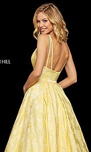 Image of long embossed a-line prom dress with pockets. Style: SH-52953 Detail Image 6