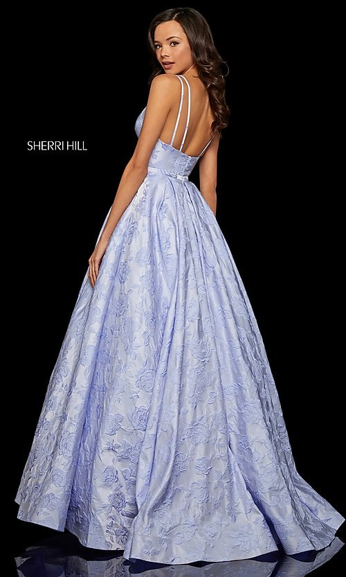 Image of long embossed a-line prom dress with pockets. Style: SH-52953 Back Image