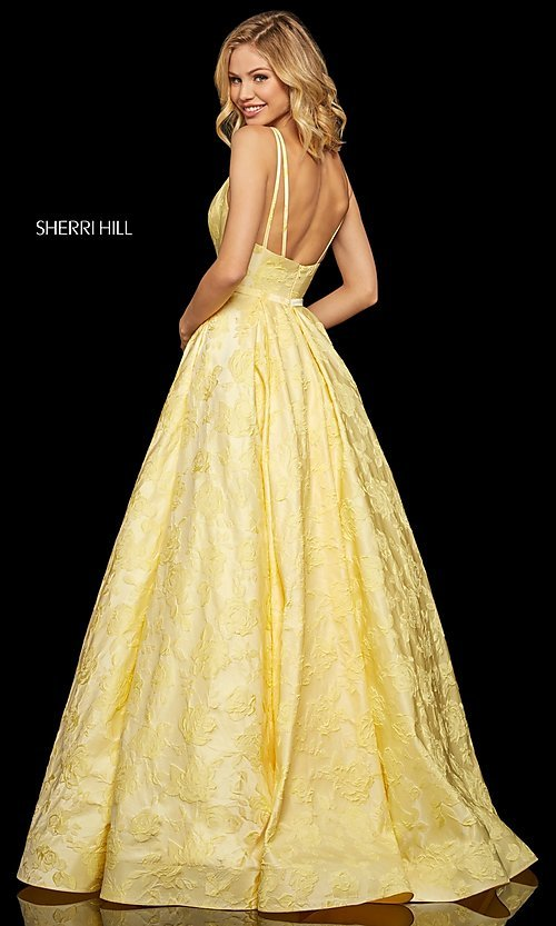 Image of long embossed a-line prom dress with pockets. Style: SH-52953 Detail Image 4