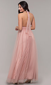 Image of deep-v-neck open-back halter long prom dress. Style: LUX-LD5086 Back Image