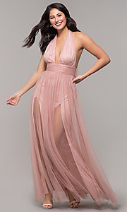 Image of deep-v-neck open-back halter long prom dress. Style: LUX-LD5086 Detail Image 3