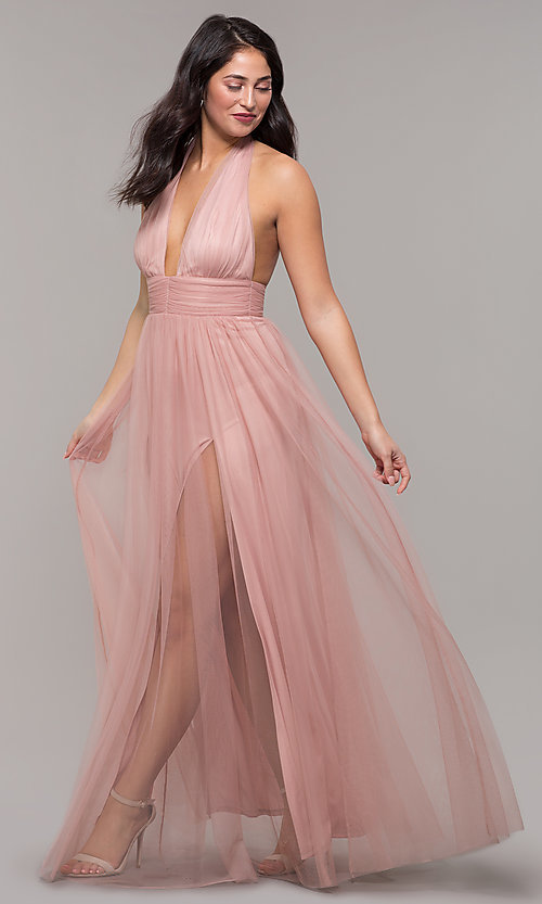 Image of deep-v-neck open-back halter long prom dress. Style: LUX-LD5086 Front Image