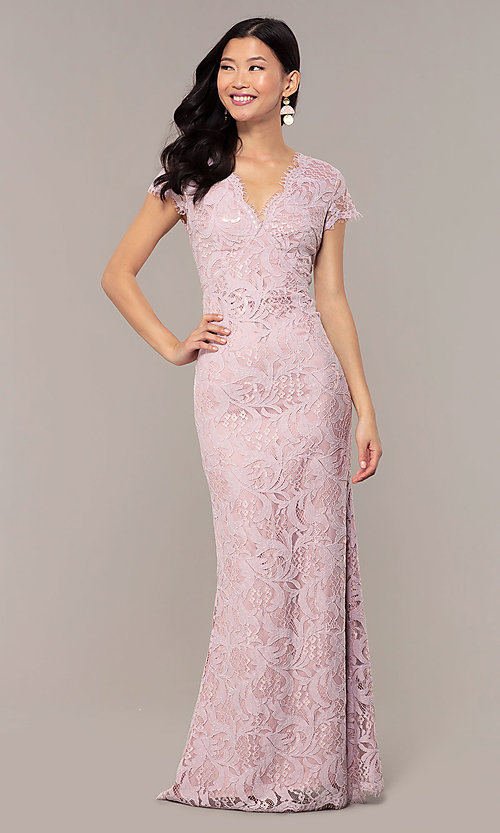 Long Mauve Lace Prom Dress With Short Sleeves