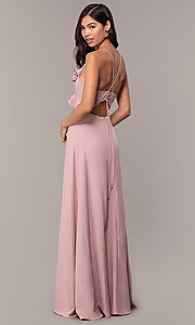 Image of draped-ruffle cut-out corset long prom dress. Style: MT-9685 Back Image