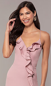 Image of draped-ruffle cut-out corset long prom dress. Style: MT-9685 Detail Image 1