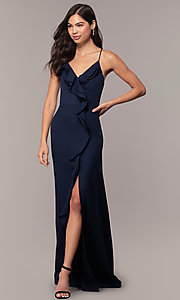 Image of draped-ruffle cut-out corset long prom dress. Style: MT-9685 Detail Image 2