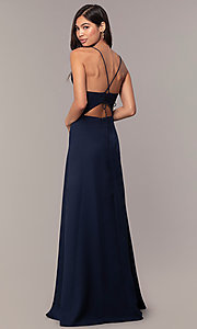 Image of draped-ruffle cut-out corset long prom dress. Style: MT-9685 Detail Image 3