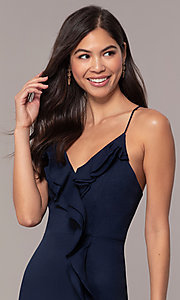 Image of draped-ruffle cut-out corset long prom dress. Style: MT-9685 Detail Image 4