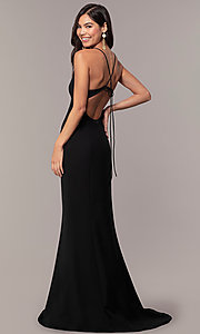 Image of long open-back v-neck formal prom dress by Simply. Style: MT-SD-9756-1 Front Image