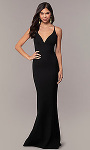 Image of long open-back v-neck formal prom dress by Simply. Style: MT-SD-9756-1 Detail Image 3