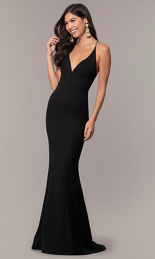 Image of long open-back v-neck formal prom dress by Simply. Style: MT-SD-9756-1 Back Image