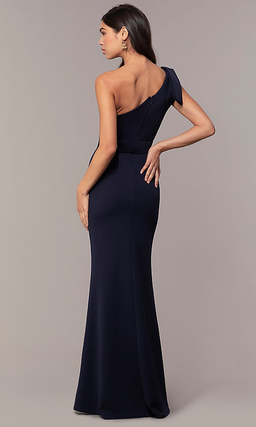 Image of navy one-shoulder pleated ruffle long prom dress. Style: MT-9670 Back Image