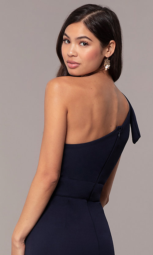 Image of navy one-shoulder pleated ruffle long prom dress. Style: MT-9670 Detail Image 2