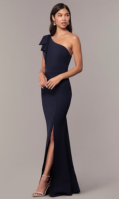 Image of navy one-shoulder pleated ruffle long prom dress. Style: MT-9670 Detail Image 3