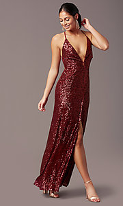 Image of PromGirl long v-neck faux-wrap sequin formal dress. Style: MT-PL-9935 Detail Image 3