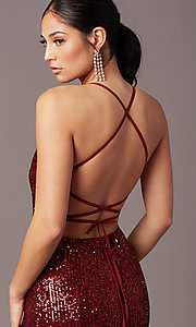 Image of PromGirl long v-neck faux-wrap sequin formal dress. Style: MT-PL-9935 Detail Image 5