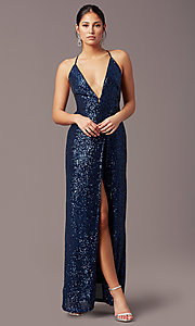 Image of PromGirl long v-neck faux-wrap sequin formal dress. Style: MT-PL-9935 Back Image