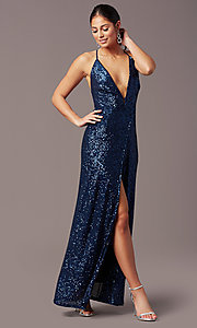 Image of PromGirl long v-neck faux-wrap sequin formal dress. Style: MT-PL-9935 Detail Image 2