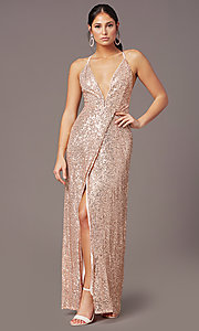 Image of PromGirl long v-neck faux-wrap sequin formal dress. Style: MT-PL-9935 Detail Image 6