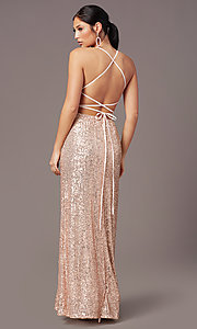 Image of PromGirl long v-neck faux-wrap sequin formal dress. Style: MT-PL-9935 Detail Image 7