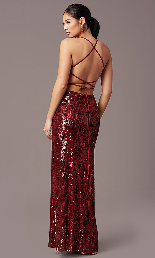 Image of PromGirl long v-neck faux-wrap sequin formal dress. Style: MT-PL-9935 Detail Image 4