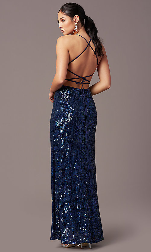 Image of PromGirl long v-neck faux-wrap sequin formal dress. Style: MT-PL-9935 Front Image