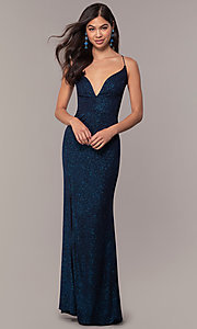 Image of sparkly v-neck open-back long prom dress by PromGirl. Style: MT-PL-9763 Detail Image 3