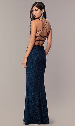 Sparkly V-Neck Open-Back Long Prom Dress by PromGirl