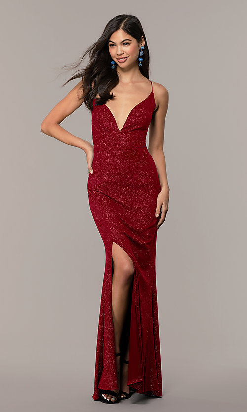 Image of sparkly v-neck open-back long prom dress by PromGirl. Style: MT-PL-9763 Detail Image 4