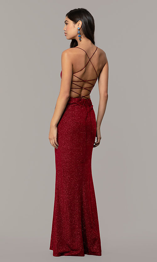 Image of sparkly v-neck open-back long prom dress by PromGirl. Style: MT-PL-9763 Detail Image 5