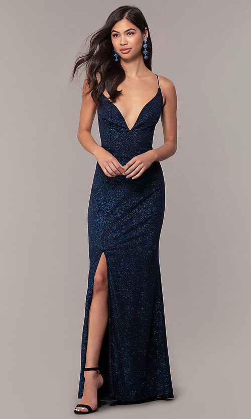 Image of sparkly v-neck open-back long prom dress by PromGirl. Style: MT-PL-9763 Detail Image 1