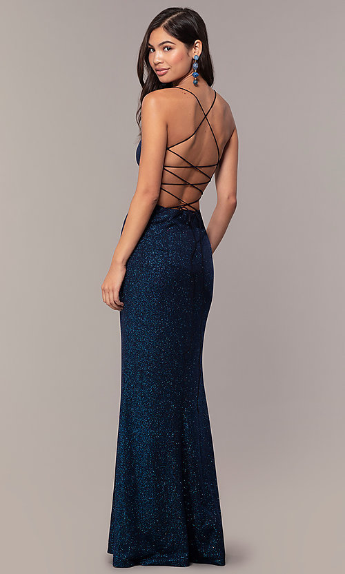 Image of sparkly v-neck open-back long prom dress by PromGirl. Style: MT-PL-9763 Front Image