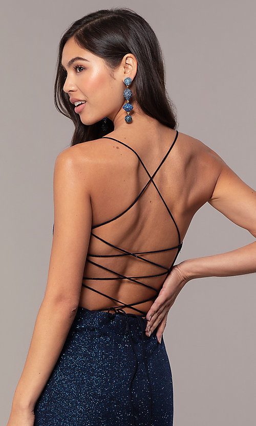Image of sparkly v-neck open-back long prom dress by PromGirl. Style: MT-PL-9763 Detail Image 2