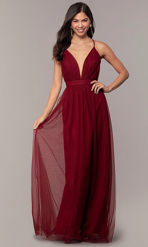 c6d798fb740 Image of gathered-bodice v-neck long prom dress by Simply. Style