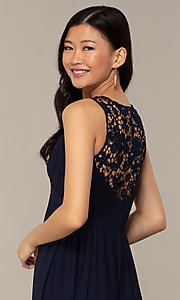 Image of navy long lace-back v-neck prom dress by Simply. Style: MT-SD-9825-1 Detail Image 2