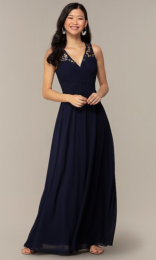 Image of navy long lace-back v-neck prom dress by Simply. Style: MT-SD-9825-1 Front Image