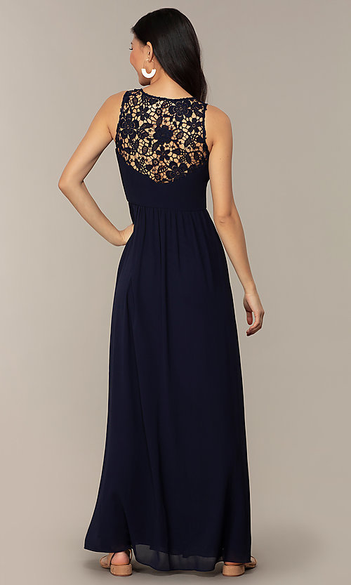 Image of navy long lace-back v-neck prom dress by Simply. Style: MT-SD-9825-1 Back Image