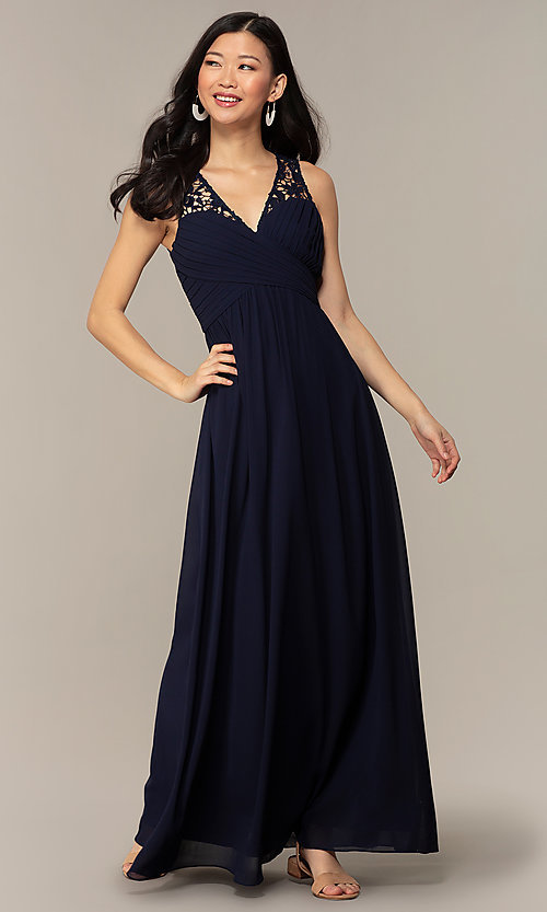Image of navy long lace-back v-neck prom dress by Simply. Style: MT-SD-9825-1 Detail Image 3